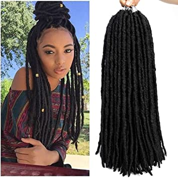 Amazon Com 6packs Straight Faux Locs Crochet Twist Hair Braids Synthetic Hair Extensions Faux Locs Kanekalon Fiber Braiding Hair Afro Kinky Soft Dread Dreadlocks 18 Strands 18 6 Packs 1b Beauty