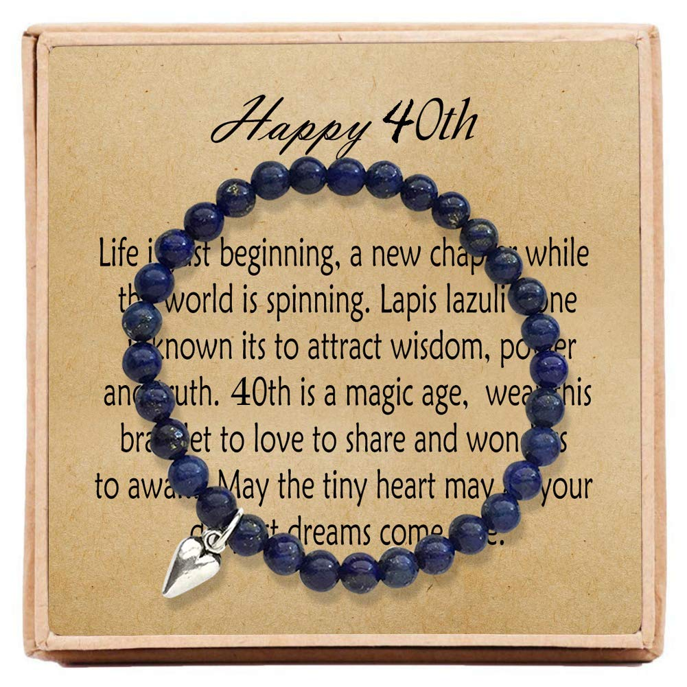 OFGOT7 40th Birthday Gifts for Women Turning 40 - Bead Bracelet with Message Card & Gift Box - Fortieth by OFGOT7