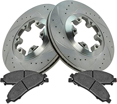 2017 for Chevrolet Colorado Rear Premium Quality Cross Drilled and Slotted Coated Disc Brake Rotors And Ceramic Brake Pads One Year Warranty For Both Left and Right