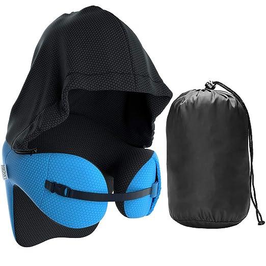 LANGRIA Almohada de Viaje con Capucha Viscoelástica 6-en-1 Multiposición de Espuma de Memoria (Azul)
