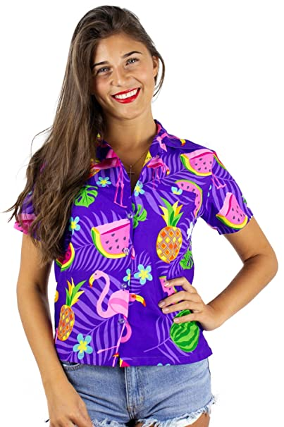 c0faaa889145e Funky Hawaiian Shirt Blouse Women Shortsleeve Frontpocket Hawaiian ...