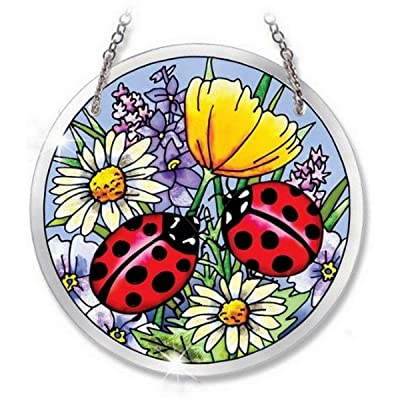 Amia Beveled Glass Circle Suncatcher Ladybug Design, 4-1/2-Inch, Medium: Home & Kitchen