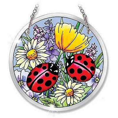 Amia Beveled Glass Circle Suncatcher Ladybug Design, 4-1/2-Inch, Medium: Home & Kitchen