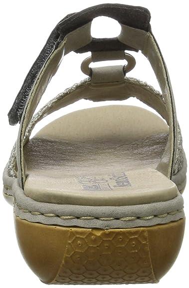 Rieker Damen 65943 Pantoletten, Grau (Staub-Silber/Staub/42), 40 EU