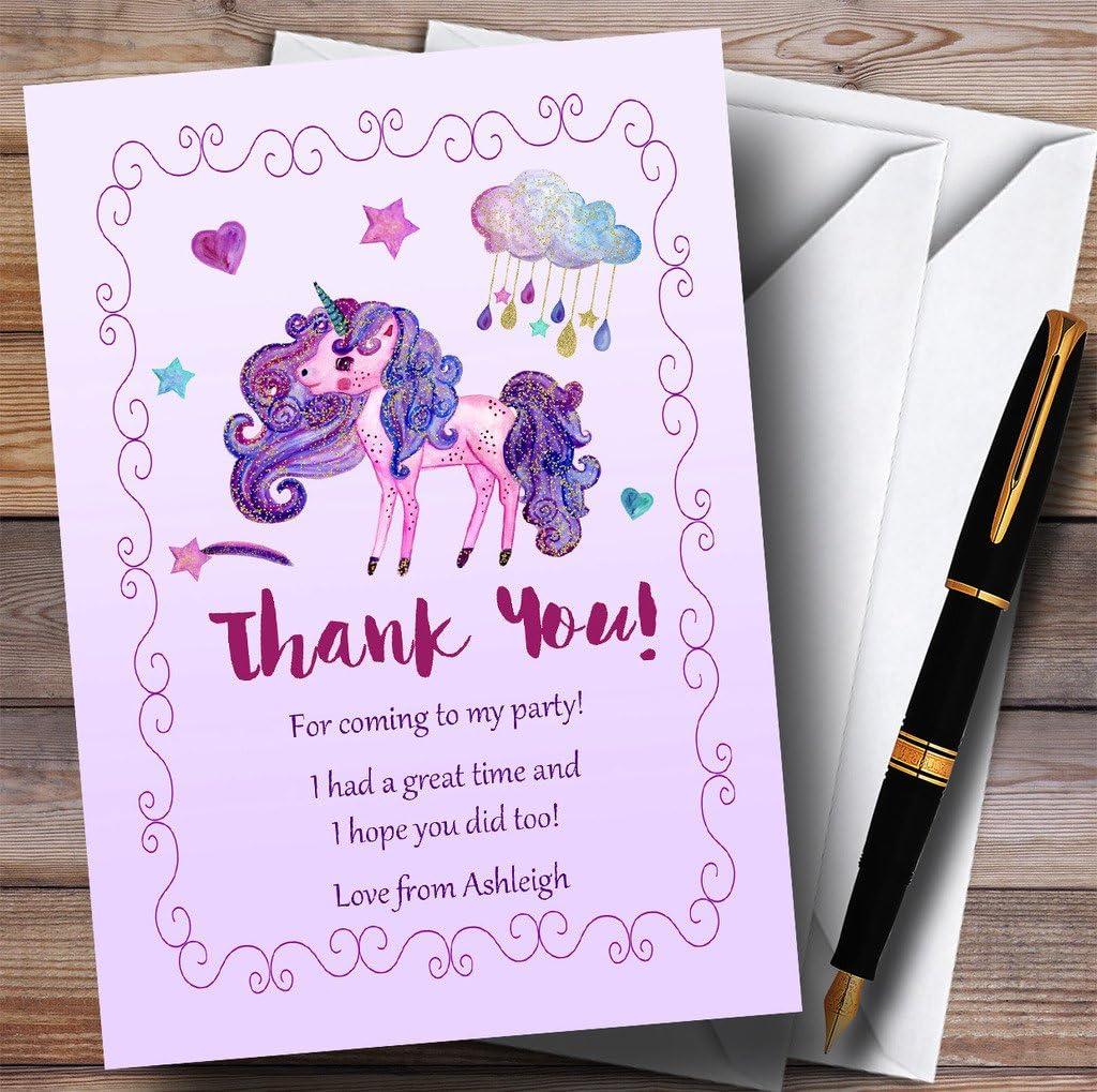 Pretty Glitter Purple Unicorn Party Thank You Cards
