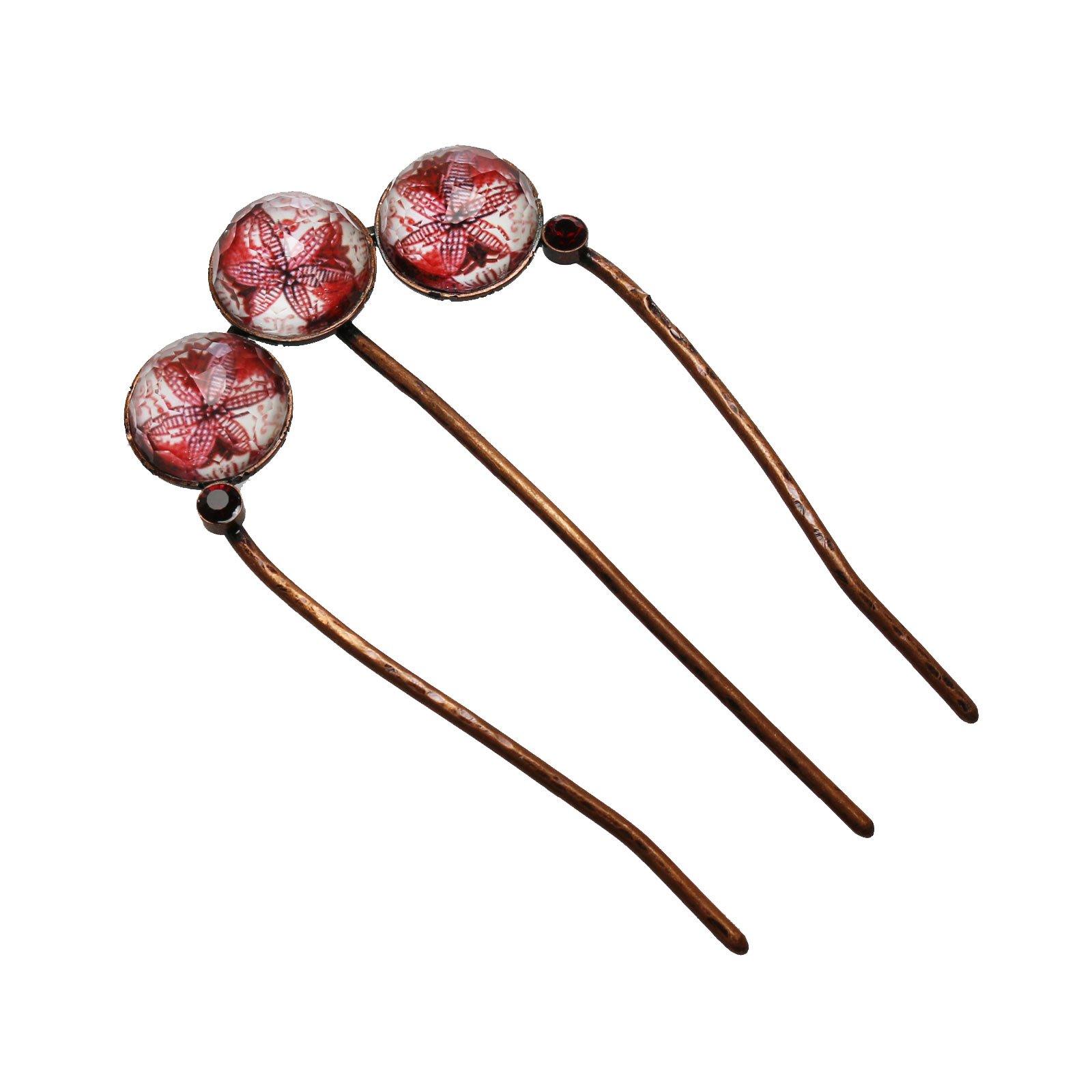 Tamarusan Hair Comb Red Hair Accessory Hair Ornament Lily Handmade