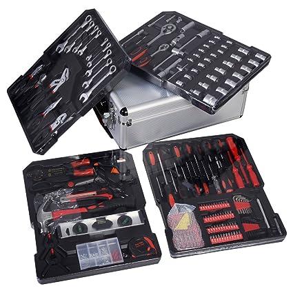 266tlg universal Juego de herramientas de aluminio maletín de herramientas Set con Roller Llave Tester Alicate