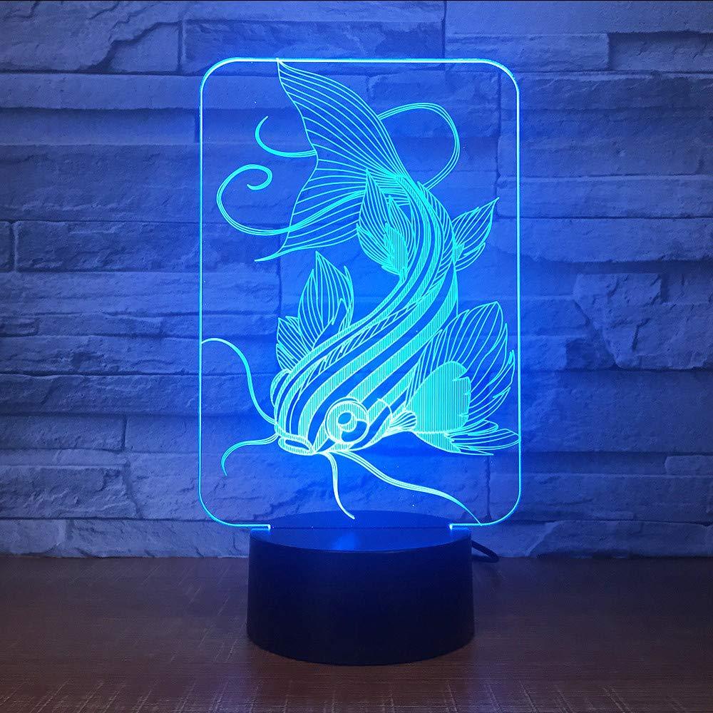 Shuangklei Mode Kunst Acryl 7 Farben Ändern Schreibtischlampe 3D Led Optische Goldfisch Modellierung Touch Button Lampe Wohnkultur Beleuchtung Nachtlicht