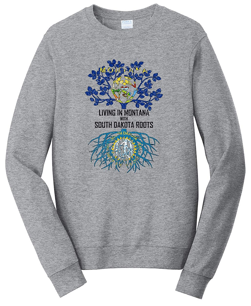 Tenacitee Unisex Living in Montana South Dakota Roots Sweatshirt