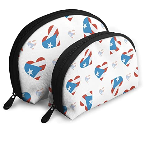 964a353a2dc5 Amazon.com: Travel Makeup Bag Cosmetic Pouch Puerto Rico Flag Heart ...