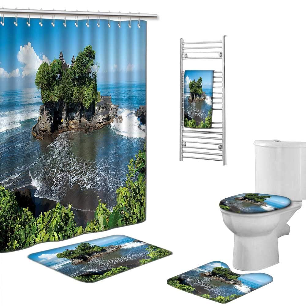 Prints decorate the bathroomIncludes (Toilet mat Three-piece suit + 1 shower curtain + 1 bath towel) size:S-Balinese Decor Tanah Lot Temple in Bali Island Wavy Ocean Historic Architecture Heritage P