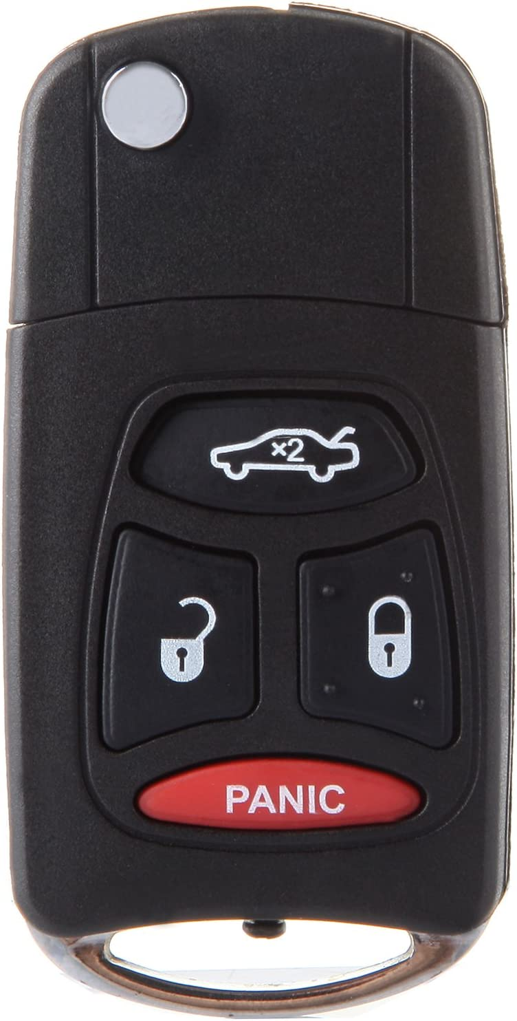 LSAILON Keyless Option Keyless Entry Remote Control Car/ï/¼/ˆonly Case/ï/¼/‰Replacement Compatible with Dodge Chrysler Jeep Mitsubishi Raider 4 Buttons Keyless Entry Option pack of 2