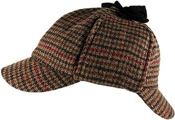 afa236bef0e Tweed Deerstalker Sherlock Holmes Hat Wool Country Check Two Peaks Ear  Flaps Unisex Brown