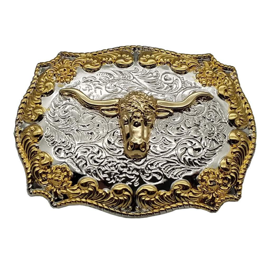 Silver Golden Longhorn Bull Cowboy Western Belt Buckle 1-ONE