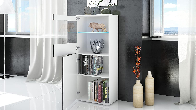 Vladon Tall Display Cabinet Cupboard Almada Carcass in White matt//Front in Concrete Dark Grey