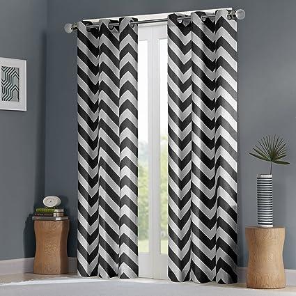 Intelligent Design Black Room Darkening Curtains For Bedroom Libra Print Grommet Living