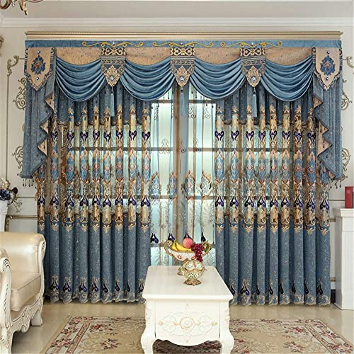 WPKIRA Grommet High-end European Chenille Jacquard Blue Semi Blackout Curtains Panels Window Treatment Thermal Insulated Curtain Drapes Embroidery Curtains