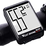 Bicycle Computer Wireless Speedometer, Big Number Display Waterproof Automatic Wake-up Stopwatch with LCD Backlight…