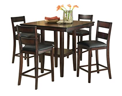 Standard Furniture Pendwood Counter Height Table u0026 Four Chairs Set Dark Cherry Brown  sc 1 st  Amazon.com & Amazon.com - Standard Furniture Pendwood Counter Height Table u0026 Four ...