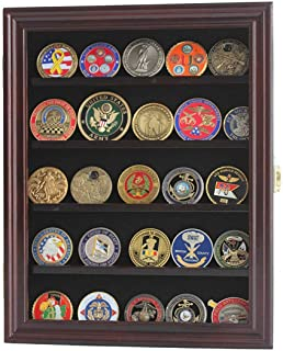 product image for flag connections Lockable 30 Military Challenge Coin, Sport Competition Coin, Casino Chip Display Case Wall Mounted Cabinet, with Lock