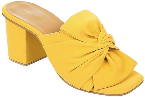 17de2eec5df BLUE BAKSA Women s Bow Detail Yellow Block Heel Mules Fashion Sandals 36 EU  (214 Yellow EU36)  Buy Online at Low Prices in India - Amazon.in