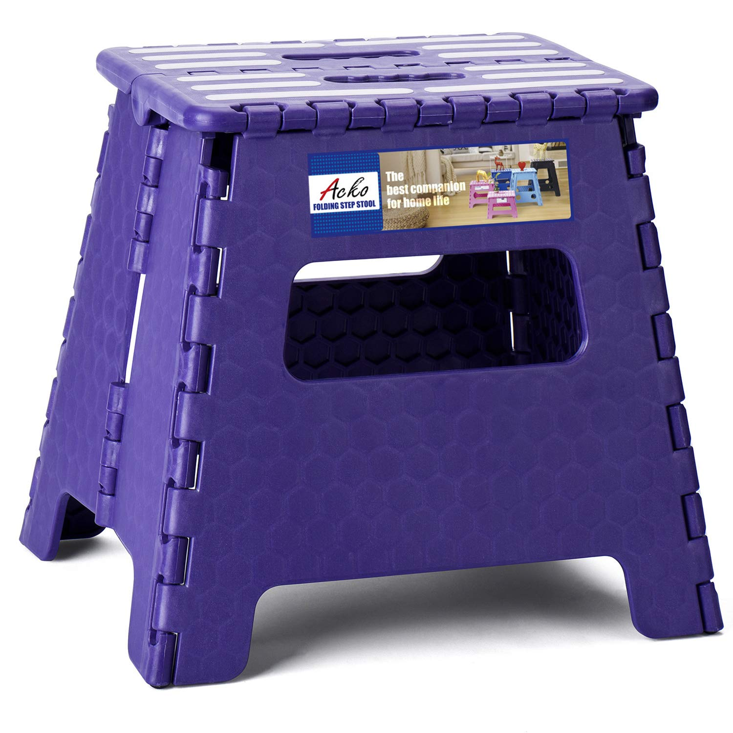 Acko Folding Step Stool 13 inch Plastic Folding Stool,Kitchen Step Stool,2019 Upgraed Foldable Step Stool for Adults,Plastic Stepping Stool,Purple
