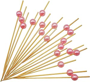 PuTwo Picks Bamboo Sticks Toothpicks for Cocktail Appetizers Fruits Dessert, 100 Count, Pink Pearls