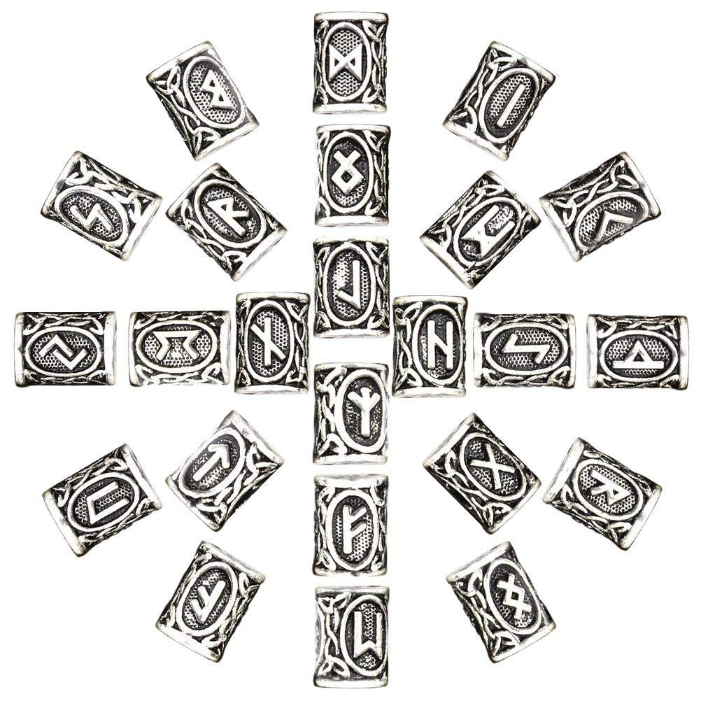 SevenMy 24 St/ück nordische Wikinger Haar Bart Perlen Haar Anh/änger Armband Antik DIY Armband Basteln Haar Dcoration Bart Silber