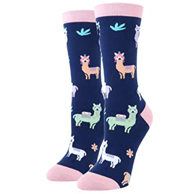 Women Girls Novelty Funny Crew Socks Crazy Rainbow Unicorn Poop Emoji Llama Corgi Socks