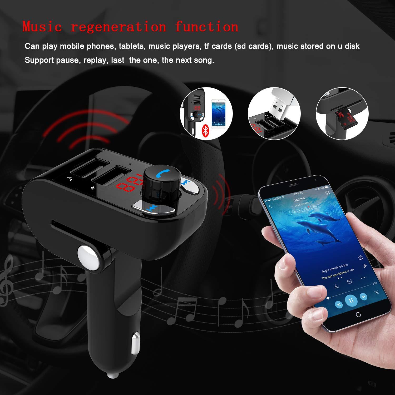 Qianwei Transmetteur FM Bluetooth,Voiture lecteur MP3,FM Voiture chargeur avec Dual USB Ports 5V//3.1A,Appel Main Libre,Support TF Card/&USB