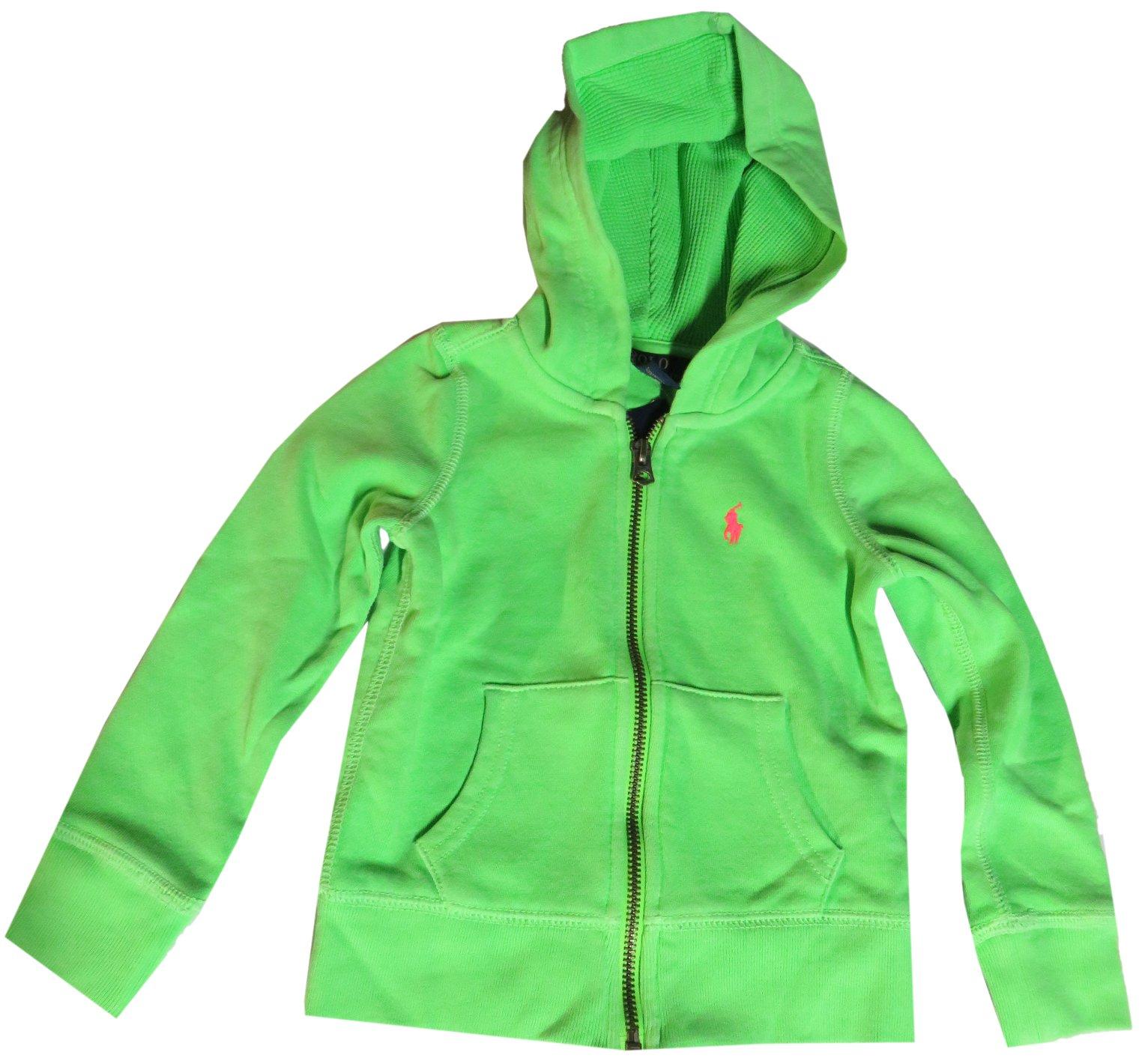 Ralph Lauren Polo Girl's Hooded Sweat Jacket Hoodie Brilliant Green (2T)
