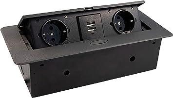 Gedotec - Caja de enchufe empotrable para cocina y escritorio (2 enchufes Schuco + 2 enchufes USB para mesa, con tapa de cierre suave, 1 unidad), color negro: Amazon.es: Bricolaje y herramientas