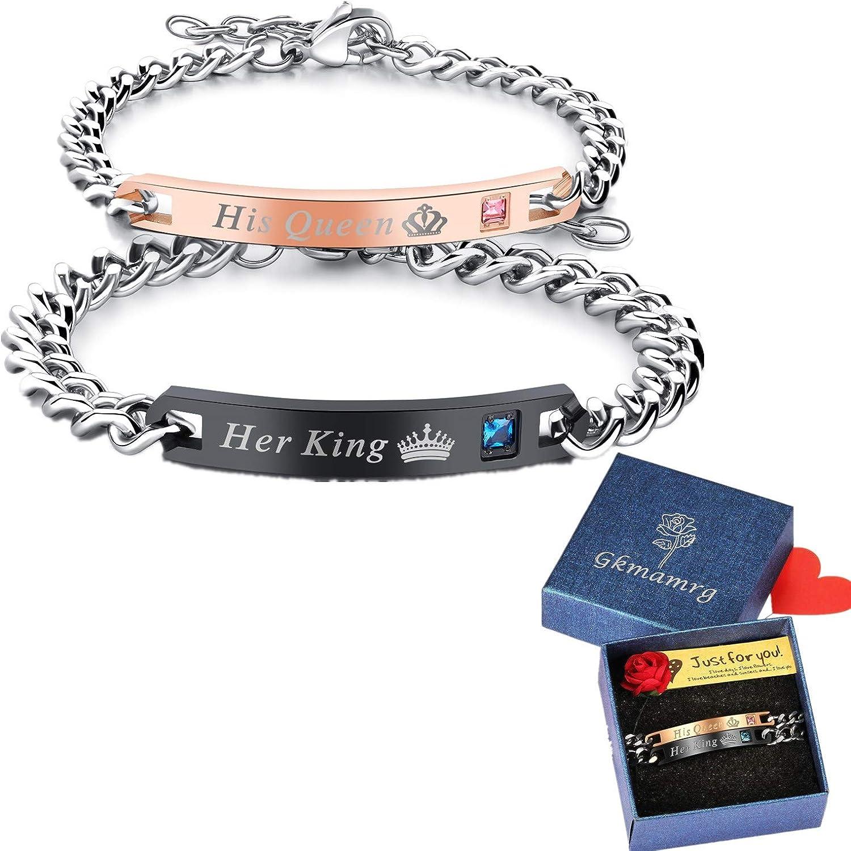 Partner Armband Set Her King His Queen Schwarz Rosegold Liebe Gravur Kette