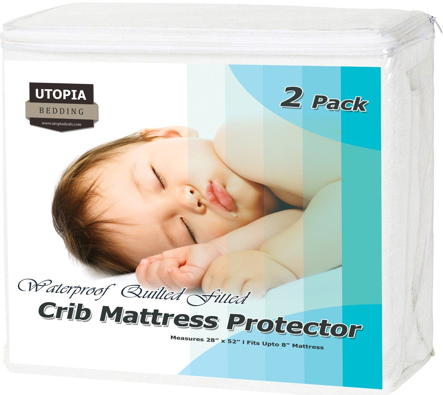Utopia Bedding Waterproof Crib Mattress Protector - Hypoallergenic Quilted Crib Fitted - Cradle Mattress Pad