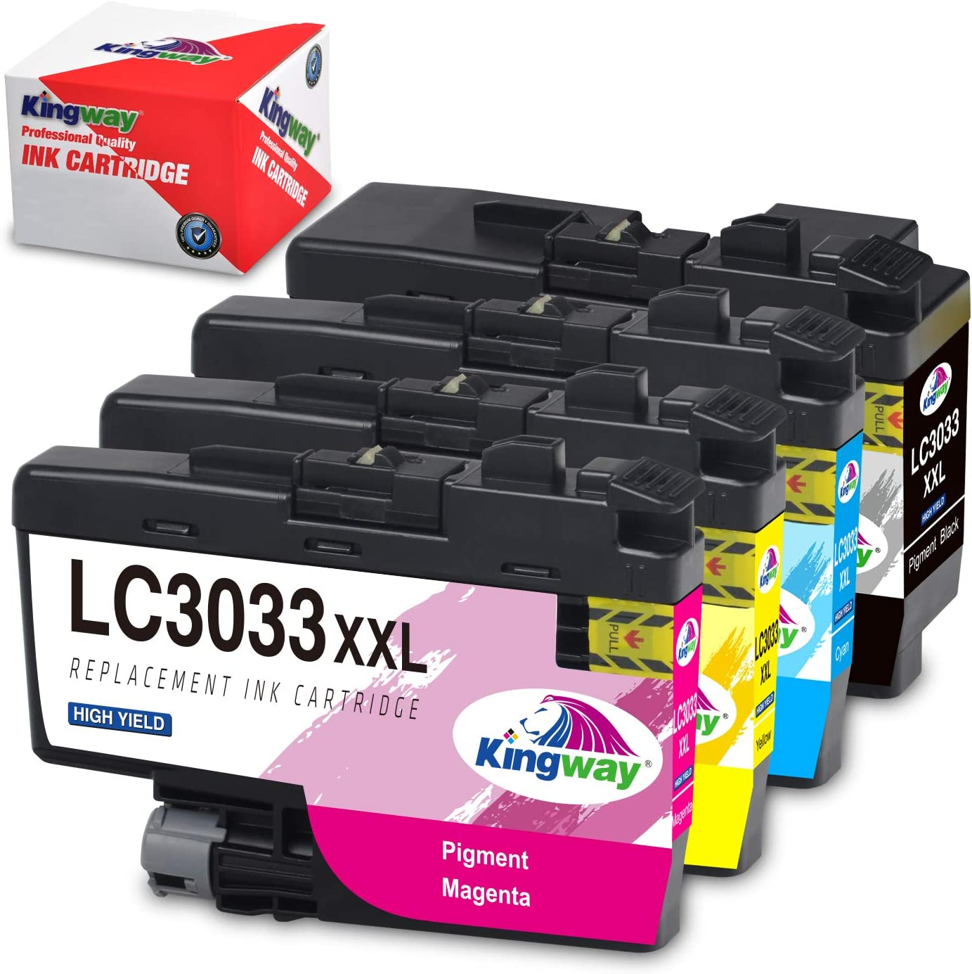 Kingway Upgraded LC3033XXL LC3033 LC3035 Compatible Ink Cartridges Replacement for Brother MFC-J995DW MFC-J995DWXL MFC-J815DW, MFC-J805DW, MFC-J805DWXL Printer (Black, Cyan, Magenta, Yellow, 4-Pack)