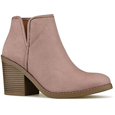 6b3e751ea Premier Standard - Women s Side Zipper Closed Toe Booties - Low Heel Casual  Comfortable Walking Booties