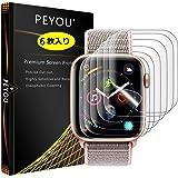 『6枚入り全面保護』Apple Watch Series 4 フィルム 40mm PEYOU【Apple Watch 1/2/3 38mmも対応】アップルウォッチ4 フィルム 40mm TPU製【水貼り】12時間内に気泡が消える 防指紋 高光沢