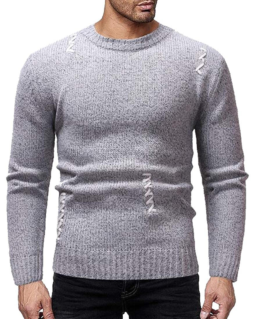 Fensajomon Mens Casual Slim Round Neck Long Sleeve Knit Pullover Sweaters Jumper
