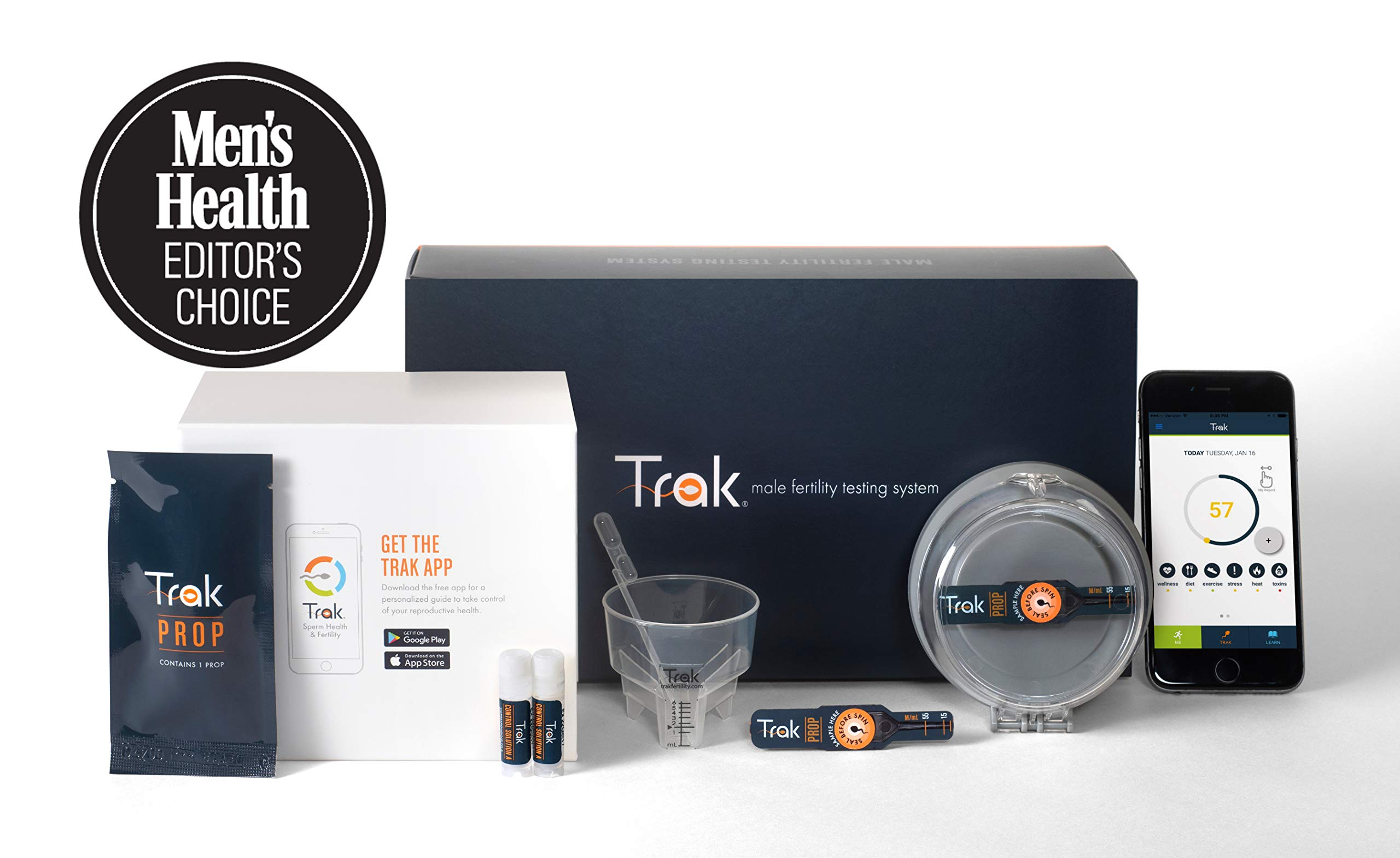 Trak Male Fertility Testing System: 4-Test Kit | Test Sperm Count and Semen Volume At Home | Indicates Results as Low, Moderate, or Optimal for Conception | FSA/HSA Eligible | Accurate as Lab Tests by Trak
