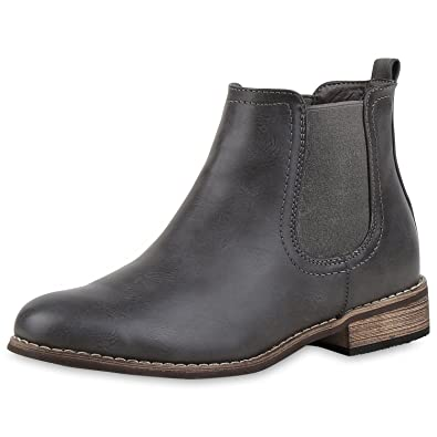 7ed79fc0b801 napoli-fashion Damen Stiefeletten Flache Chelsea Boots Leder-Optik Damen  Stiefeletten GRAU BRAUN 36