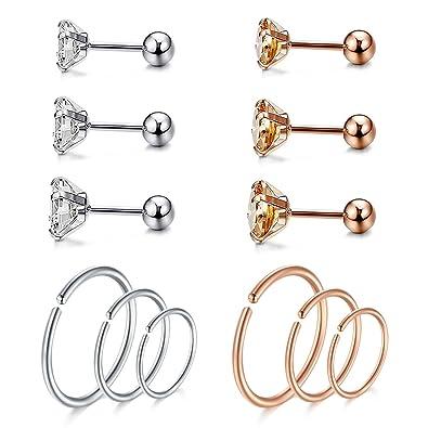 Amazon.com: JFORYOU 12 piezas de anillo de cartílago oreja ...