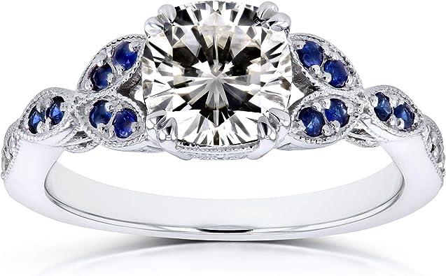 10k White Gold Diamond And 1//3 Ct TGW Tanzanite 3 Stone Ring GH I2;I3