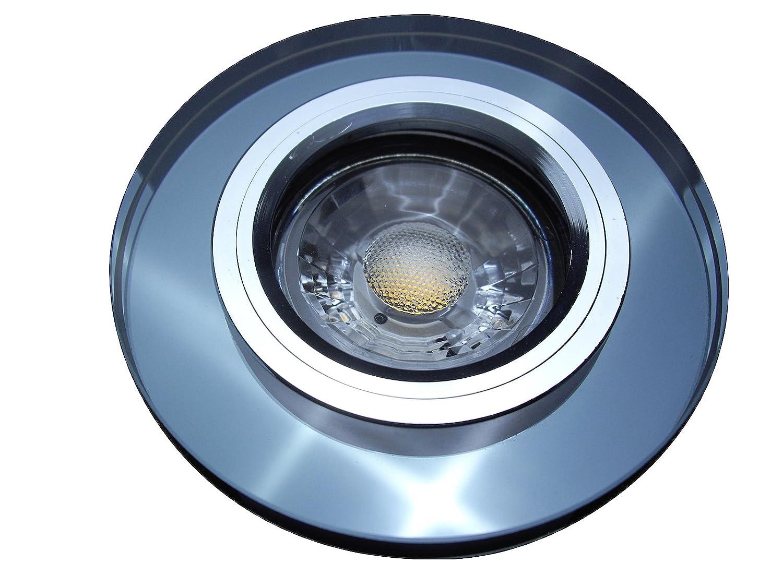 7 Stück MCOB LED Glas Einbaustrahler Lana 12 Volt 5 Watt Starr Schwarz Warmweiß inkl. LED Trafo