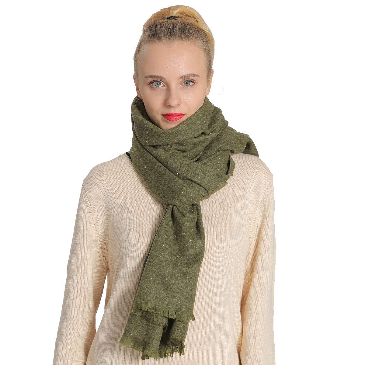 Army Green NovForth Cashmere Scarf Blanket Large Soft Pashmina Shawl Wrap Winter Extra Large(31.5 x78.5 ) Wool Scarf for Womens Girls