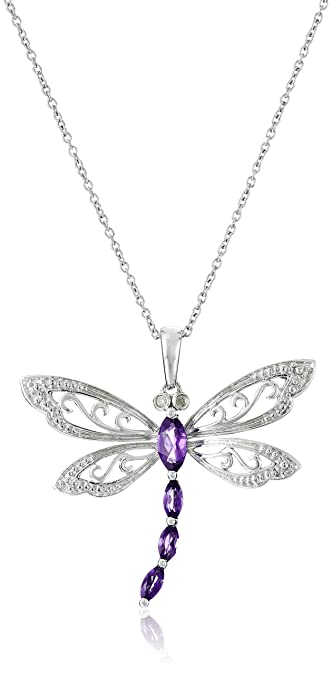 ab9807143 Sterling Silver Amethyst and Diamond Dragonfly Pendant Necklace (0.01 cttw,  I-J Color, I2