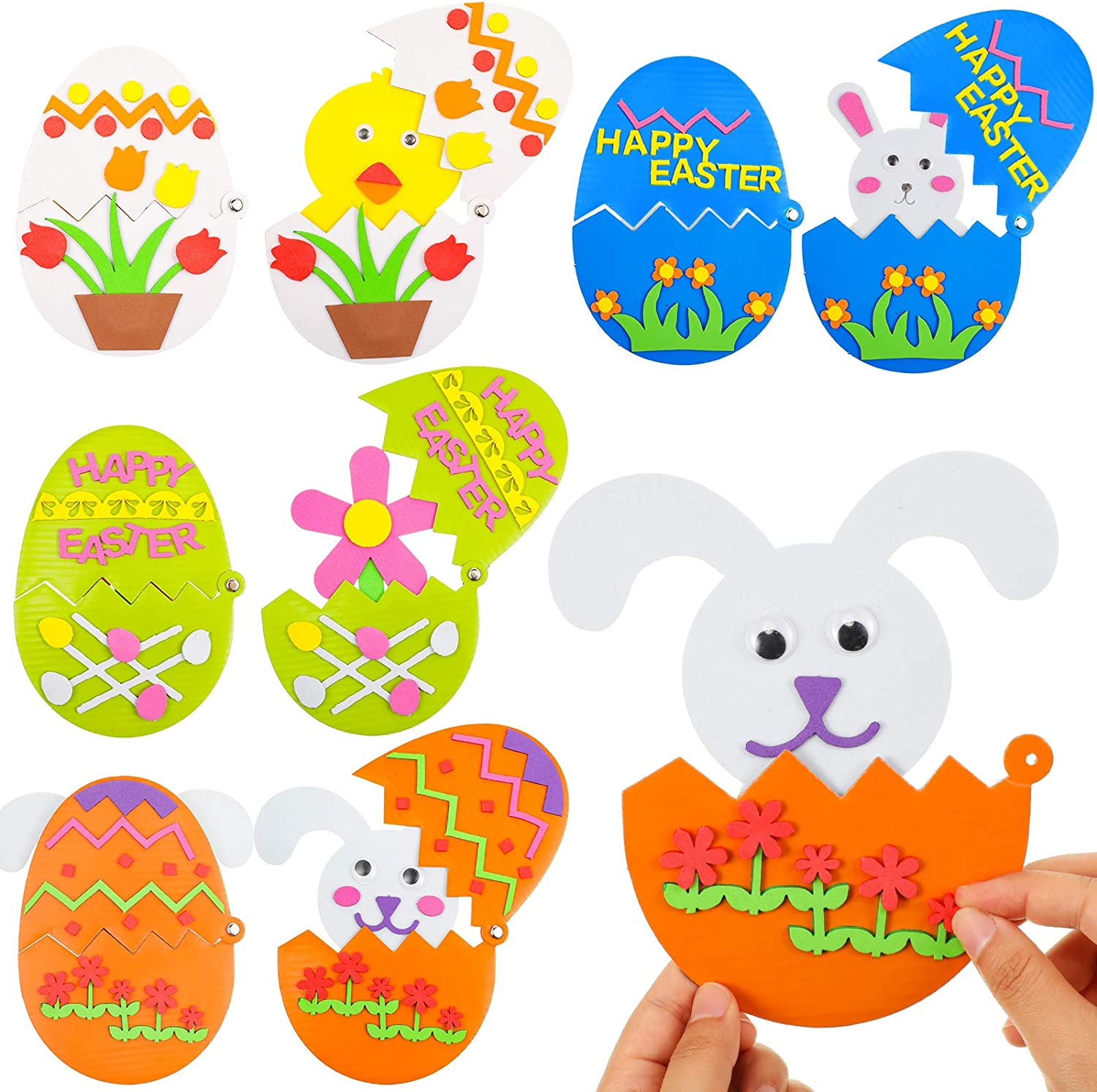 8 Piece Easter Craft Kit Foam Easter Eggs DIY Easter Foam Stickers Foam Ornaments Kits Easter Egg Character Ornament for Kids Favor Handmade Crafts Easter Day Decoration Supplies