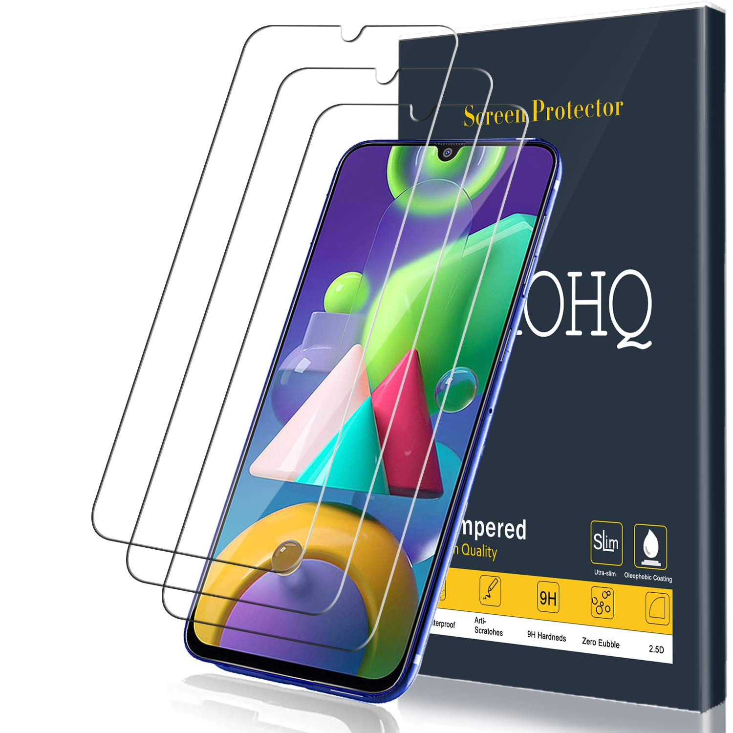 High Transparency Tempered Glass CUSKING 9H Hardness Screen Protector for Samsung Galaxy M31 3 Pack Bubble Free Screen Protector Compatible with Galaxy M31