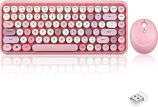 Perixx Periduo-713 - Juego de teclado y ratón inalámbrico de 2,4 GHz con teclas redondeadas retro, color rosa pastel