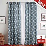 "jinchan Quatrefoil Linen Curtains - Lattice Moroccan Tile Printed Curtain Panels/Drapes for Bedroom/Living Room Window/Patio Door - 108"" (Blue, 2 Panels)"