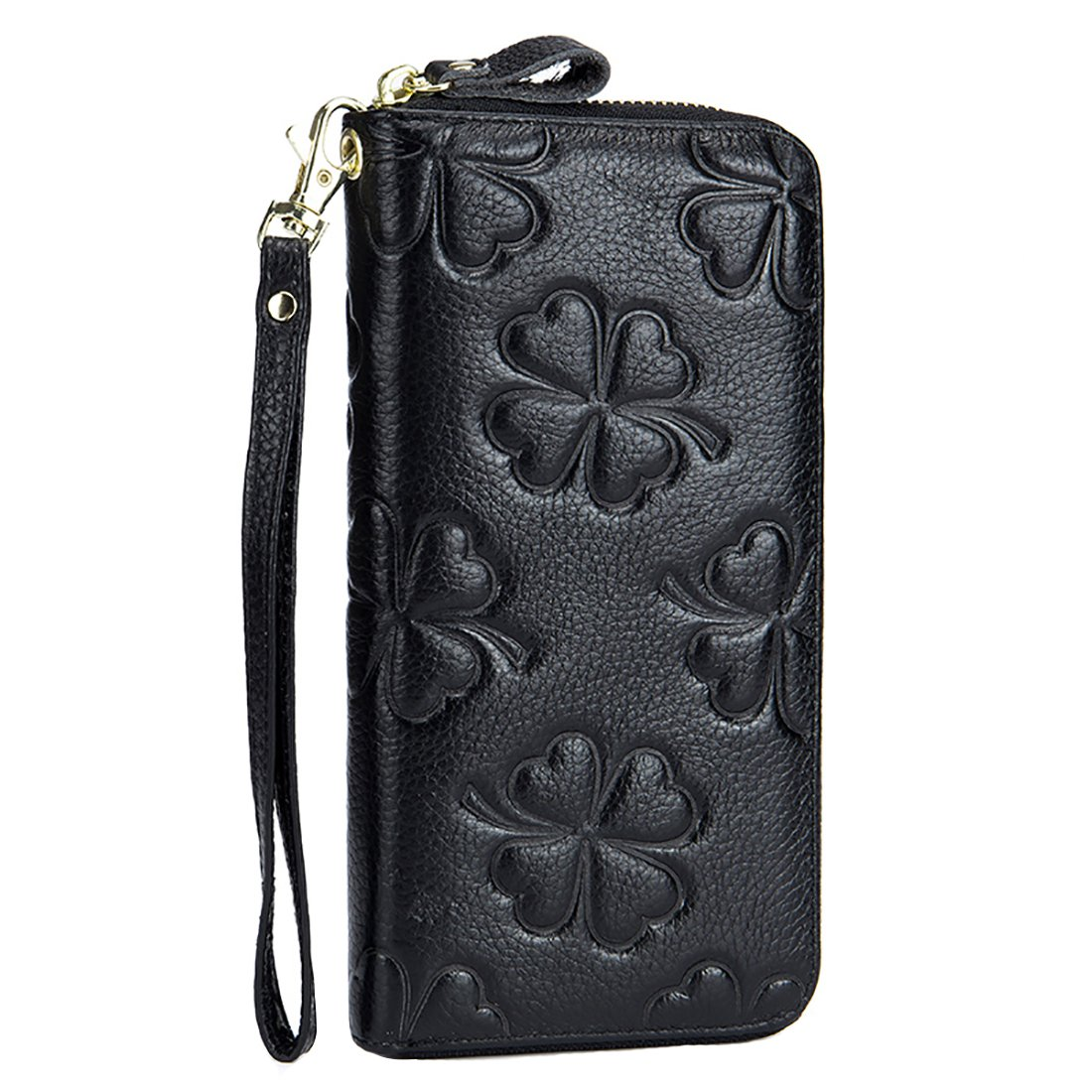 HASFINE Women Genuine Leather Long Wallet RFID Blocking Clutch Bag Wristlet Handbag Embossed Purse Credit Card Holder (Black)